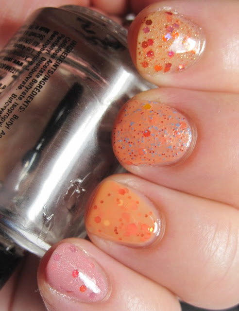 Gloss 'n Sparkle Dazzling Dusk, Literary Lacquer Carrots, Carrots, Dandy Nails Sticky Sweet, and Rainbow Polish Exotic Plumeria.