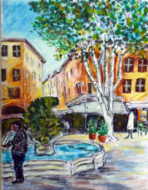 Art de vivre la peinture de peintrefiguratif dessin au pastel gras aix en provence culture de for Peinture pastel gras