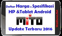Daftar Harga HP Mito Android dan Spesifikasi Update Januari hari ini