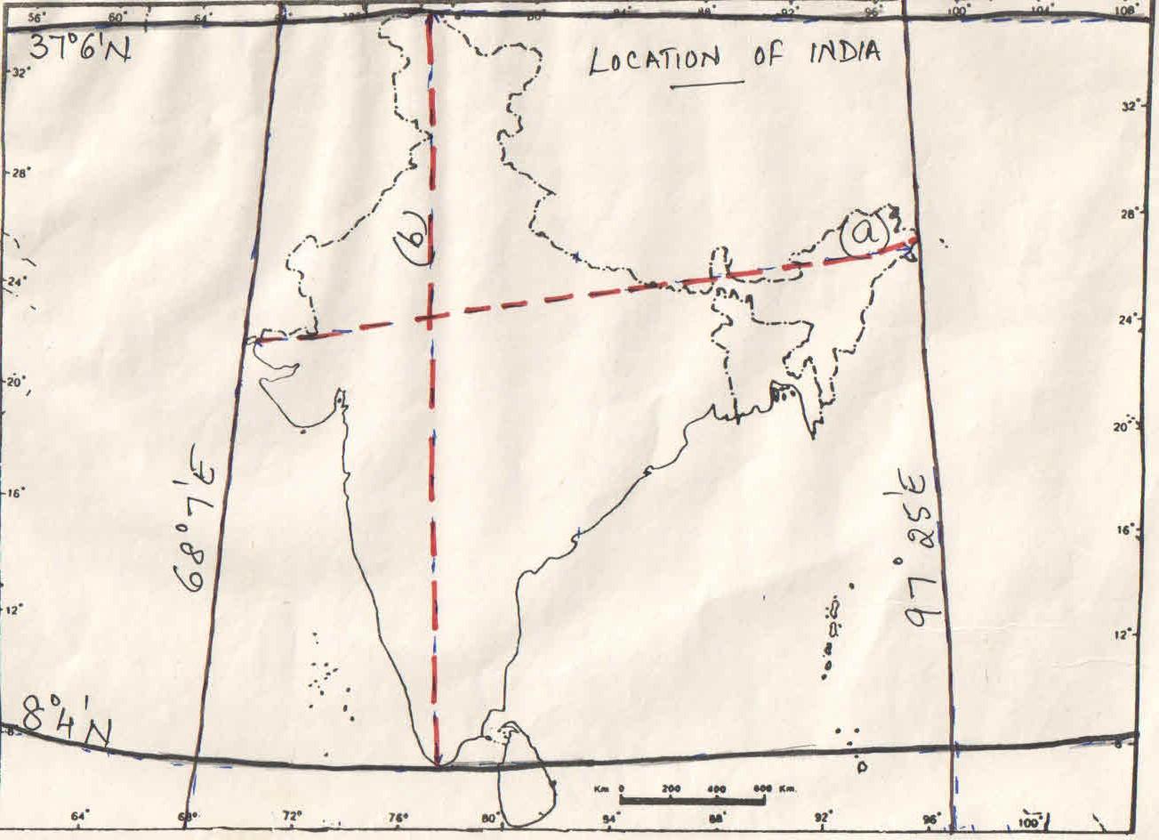 1.Latitudinal extent of India-8*4u0027N-37*6u0027N 2.Longitudinal extent of India-68*4u0027E-97*25u0027E (a) EAST-WEST extent-2933KM (b) NORTH-SOUTH extent -3214KM  sc 1 st  jasminerachelu0027s way & jasminerachelu0027s way: CLASS XII-Location of India.