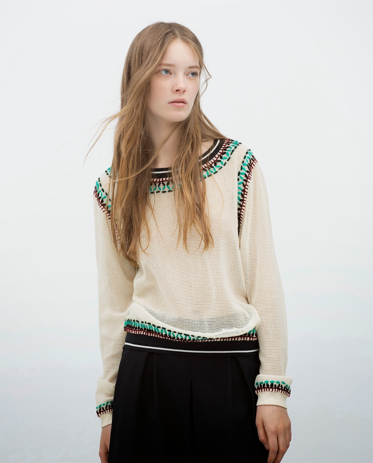 zara embroidered jumper