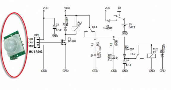 circuit schematic night security light with hacked pir