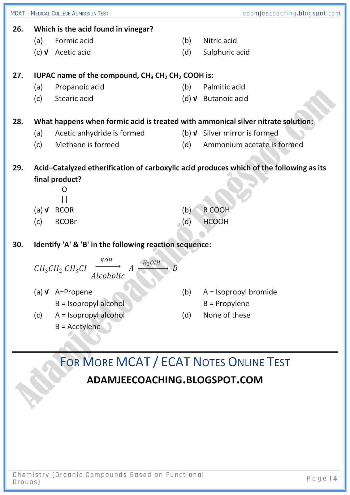 mcat-chemistry-organic-compounds-based-on-functional-groups-mcqs-for-medical-entry-test