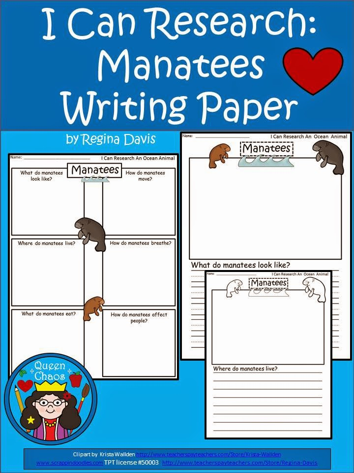 http://www.teacherspayteachers.com/Product/A-I-Can-Research-Manatees-Writing-Paper-1246637