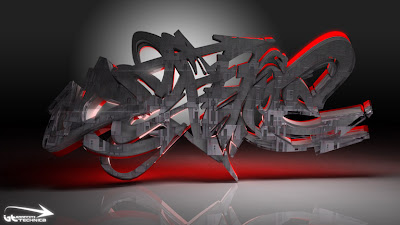 3D graffiti Digital Droid by Technica