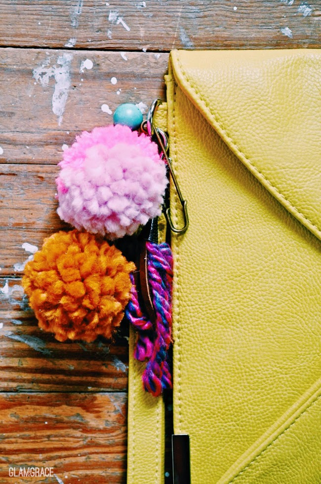 handbag accessories - pom pom pin with fringe