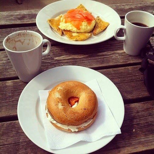 Smoked salmon bagel and eggs at the Browlow Cafe Ashridge