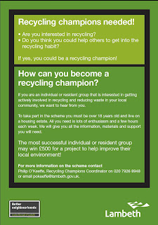 Back cover of Lambeth recycling leaflet
