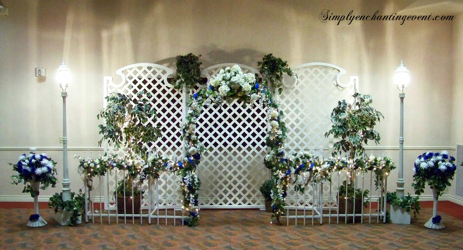 Simply enchanting event sapphire blue turquoise wedding for Decorating a trellis for a wedding