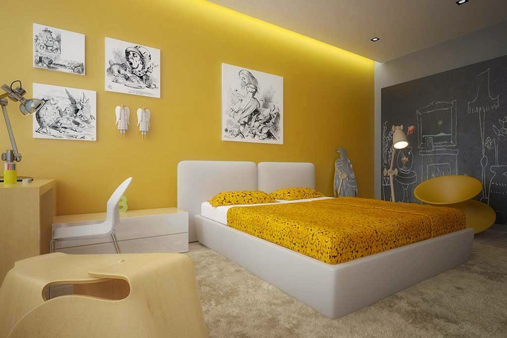 design minimalist bedroom paint color fancy yellow