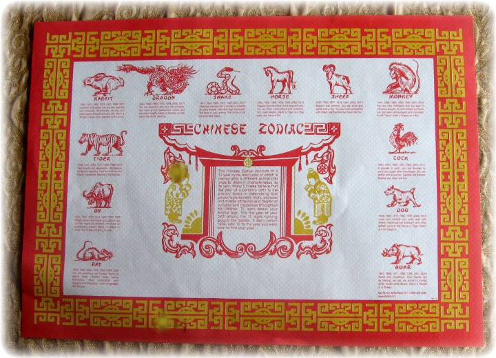 ... Traditional placemat bought in Chinese Zodiac Placemats Printable