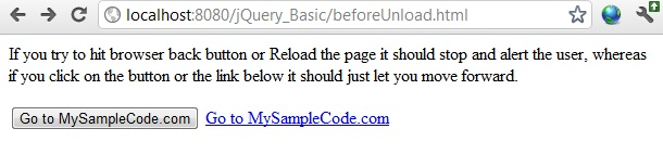 jquery stop page exit unload