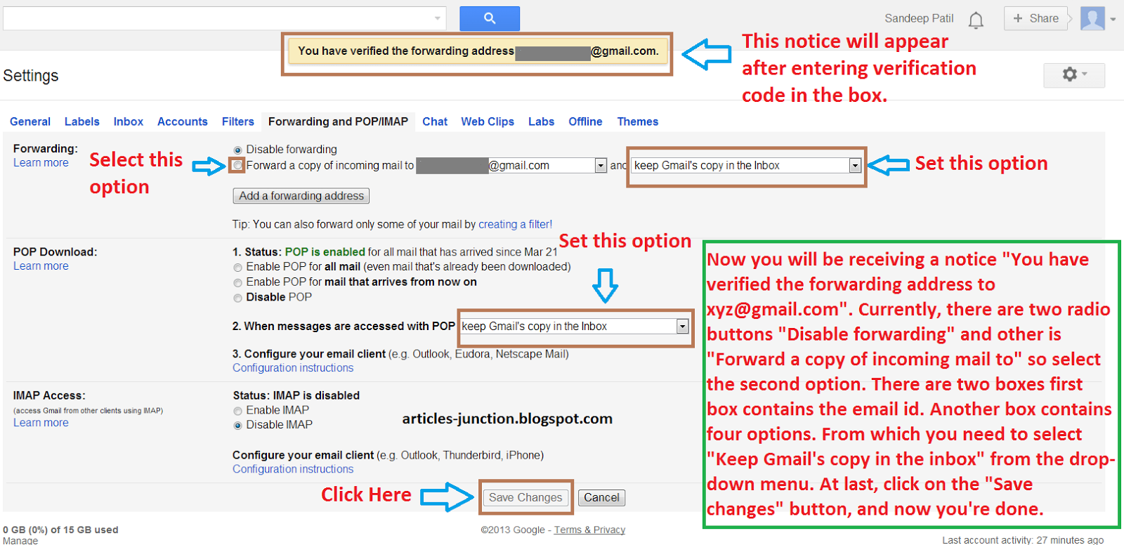 How to forward mail to Gmail account from another account
