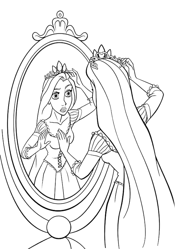 Rapunzel coloring looking in the mirror