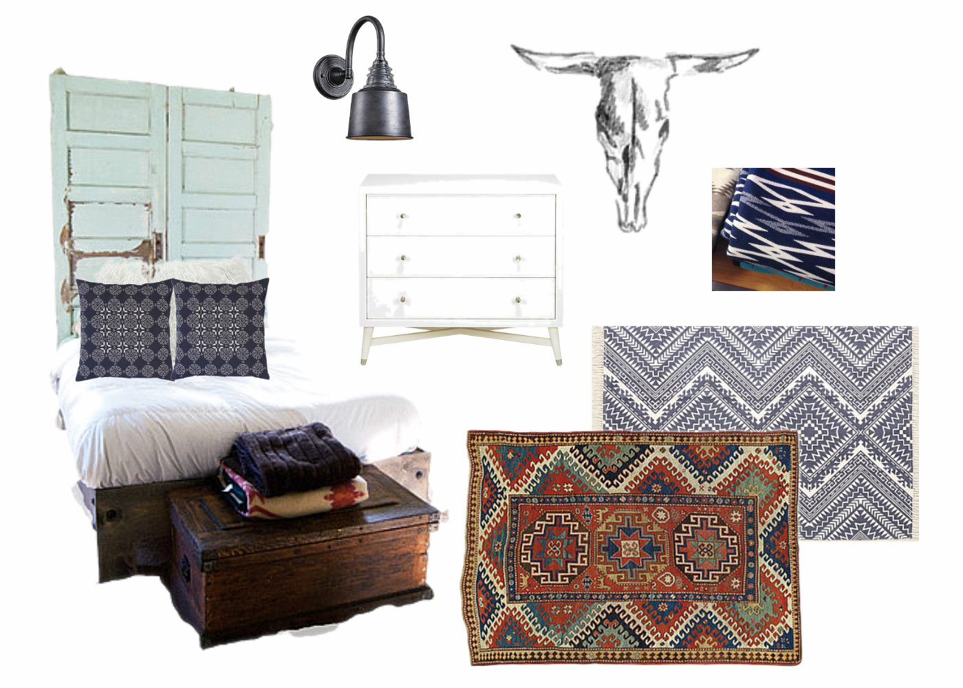 Master Bedroom Makeover - Design Board. Vintage Doors, tribal boho rug, cow skull, wall sconce and mid century night stands