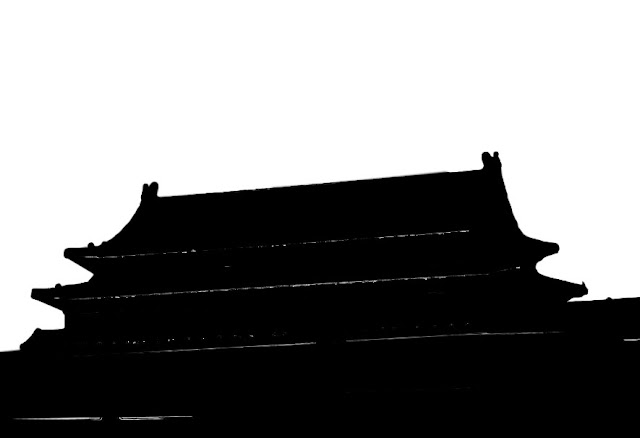 silhouette of chinise building