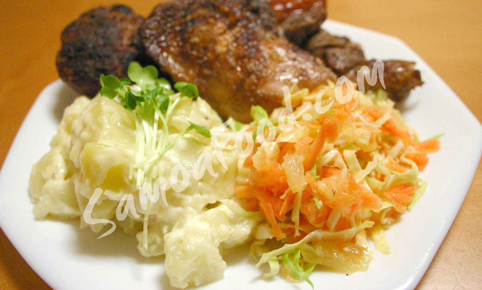 Samoa Food: Samoa Divided and BBQ side dishes