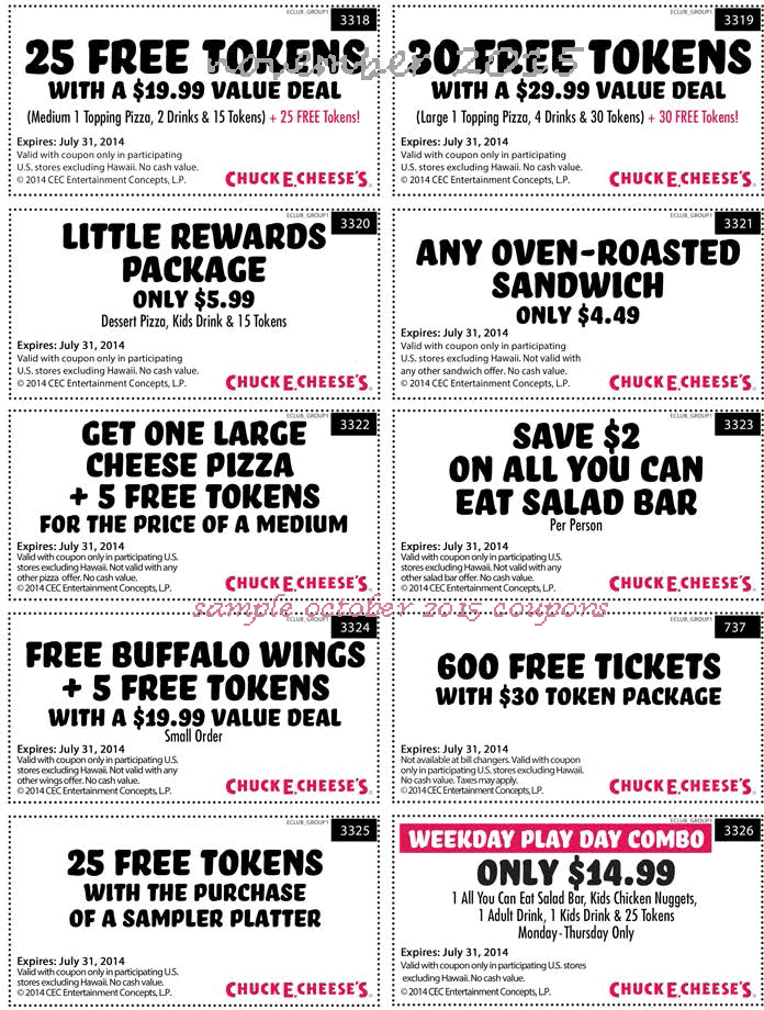 Chuck e cheese coupon codes