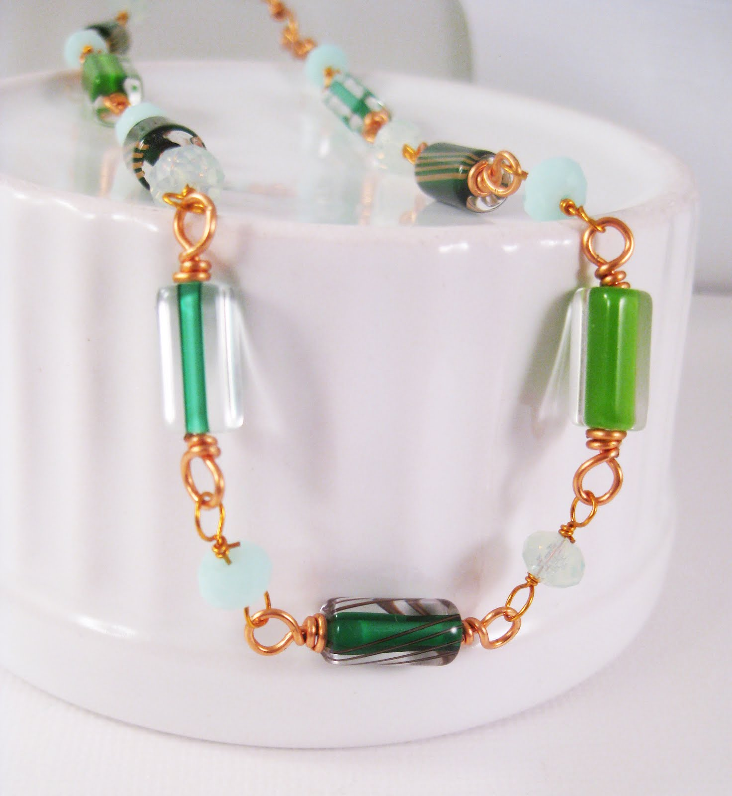 Green Cane Glass Copper Wire Wrapped Necklace