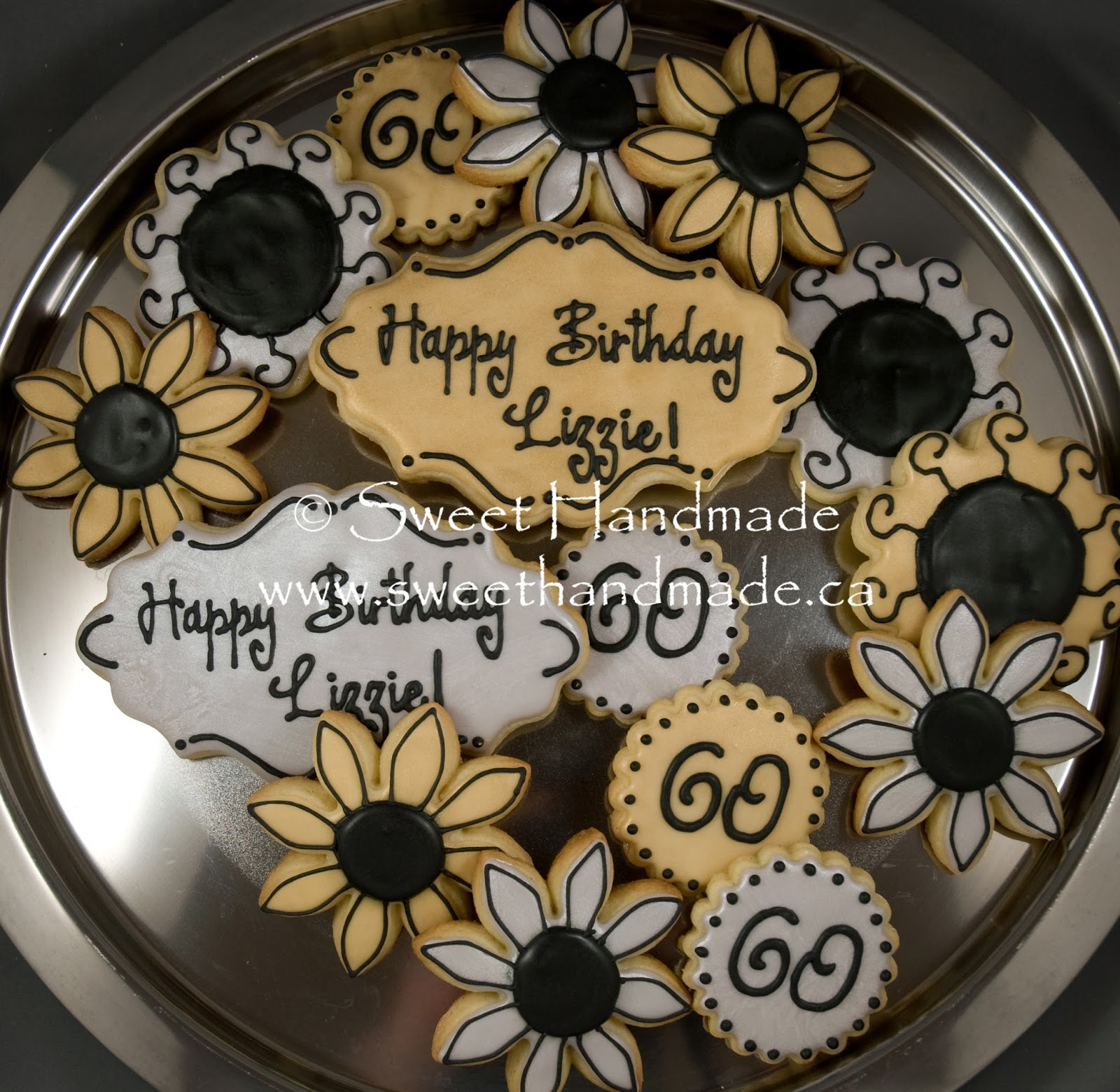 Sweet Handmade Cookies: 60th Birthday In Silver And Gold