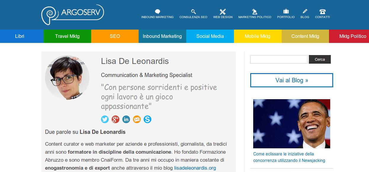 Lisa De Leonardis contributor su Argoserv.it