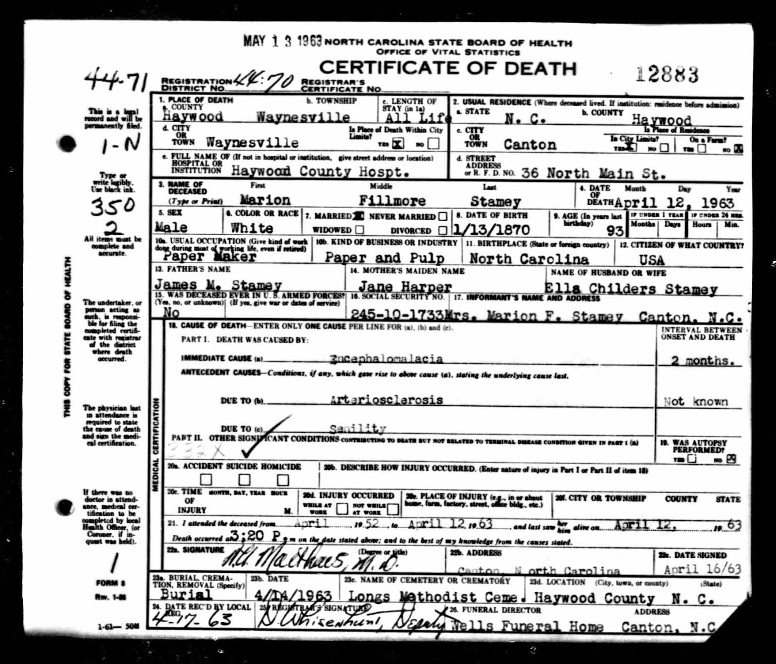 Dred blalock family history harris rosetta blalock stamey 1867 1949 north carolina death certificates 1909 1976 xflitez Gallery