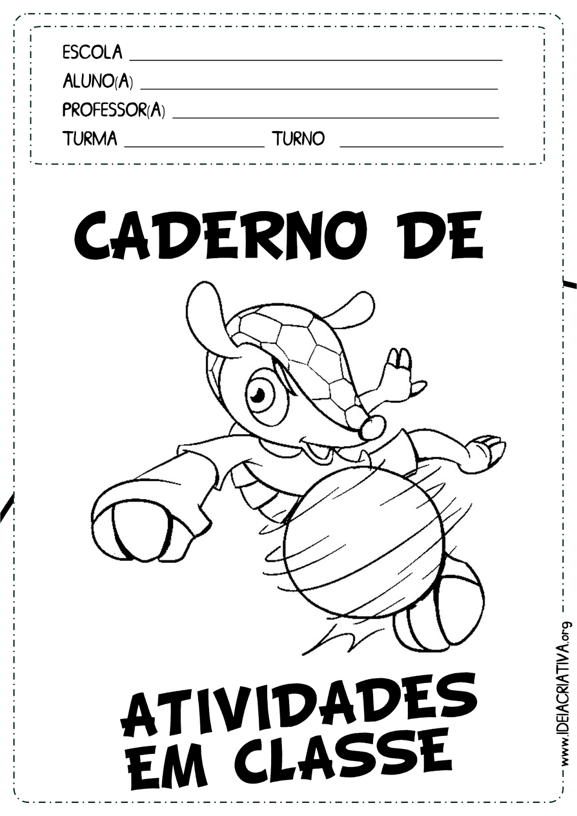 Capas Caderno de Atividades Fuleco para Colorir Copa do Mundo