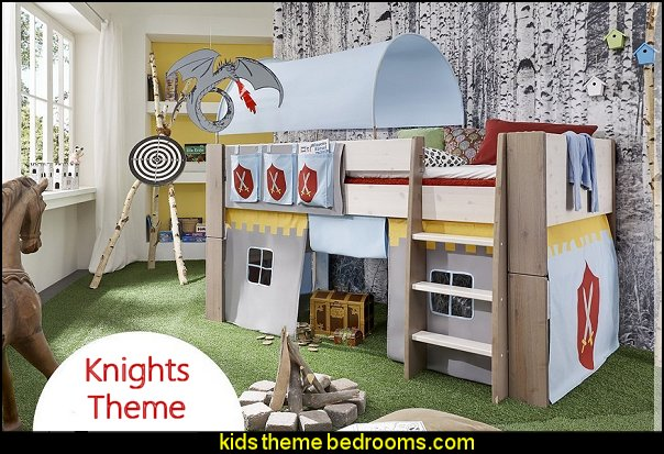 cabin bed with Knights of Old themed tunnel, tent and pocket package