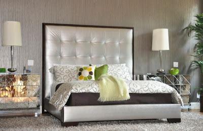 dormitorio con acentos plata