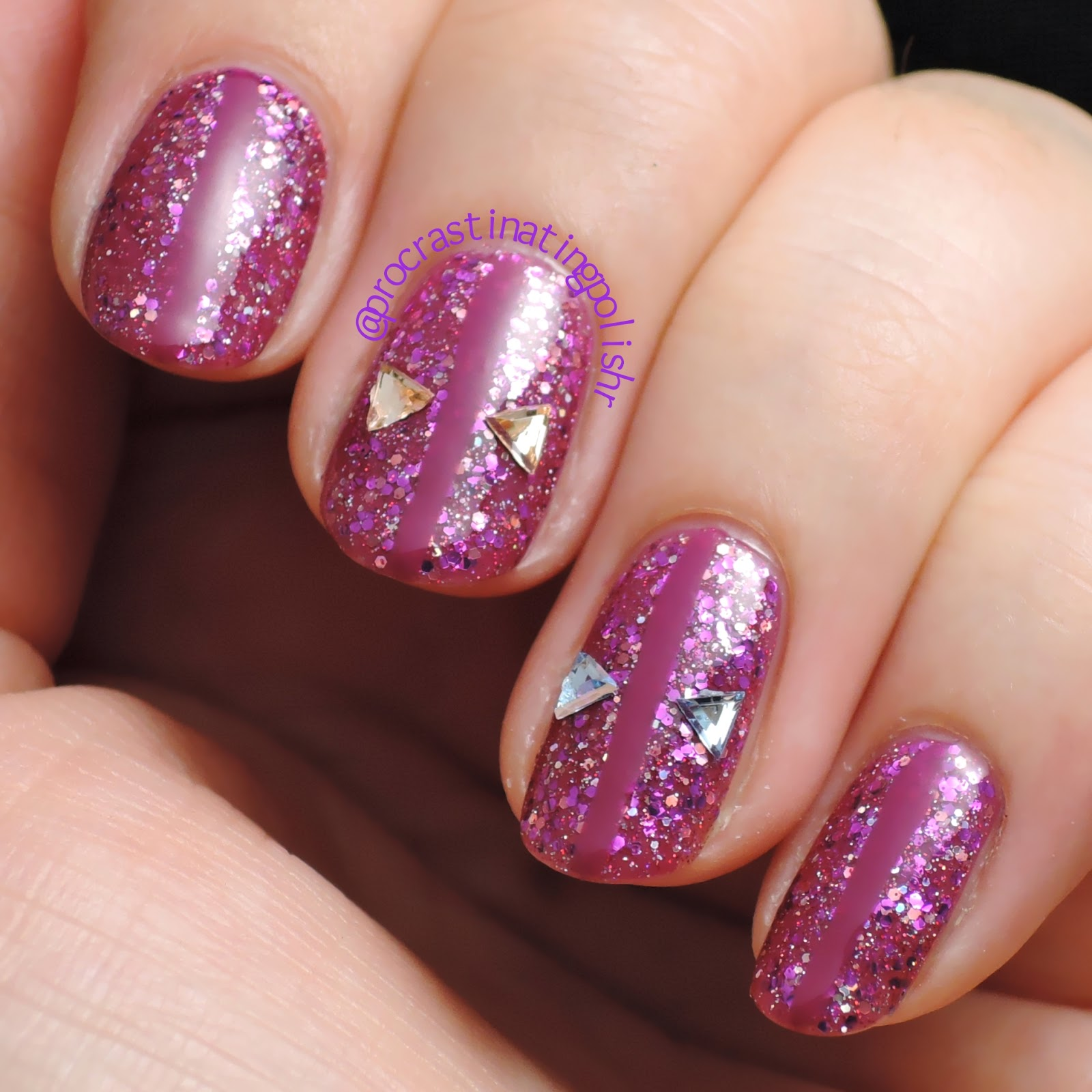 Nail art with Bella Belle Aurora & Born Pretty triangle studs