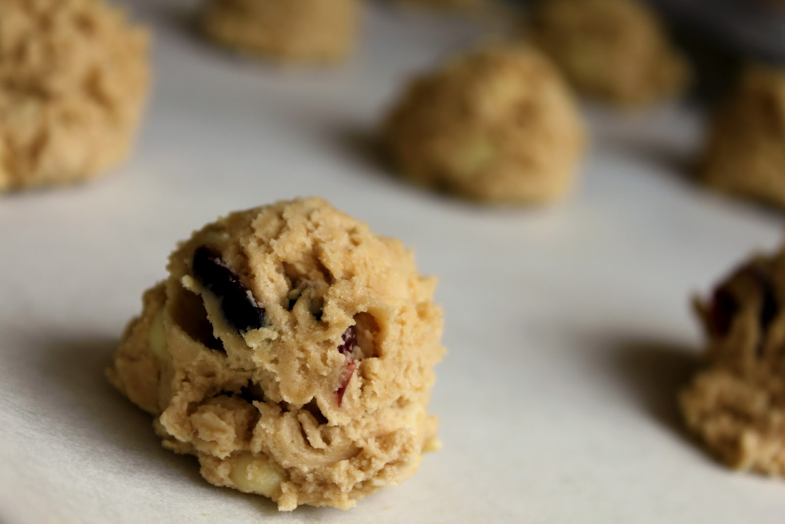... chilled the dough; then scooped the cookie dough onto parchment paper