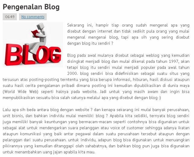 contoh posting blog, isi konten, bagian dalam suatu posting blog