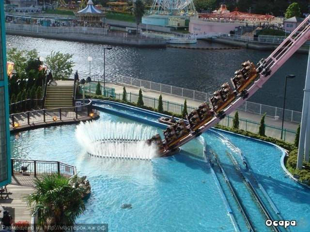 "One of the coolest roller coasters in the world, ""Vanish"" located in Yokohama Japan, dives into an underwater tunnel at one point during the ride.  The roller coaster track is 2,440 feet in length and a typical ride lasts about 1-minute 58-seconds."