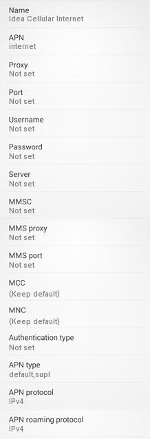 Idea Cellular MMS APN Settings for Android