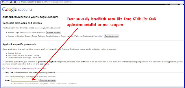 Generating application specific password for Google Account