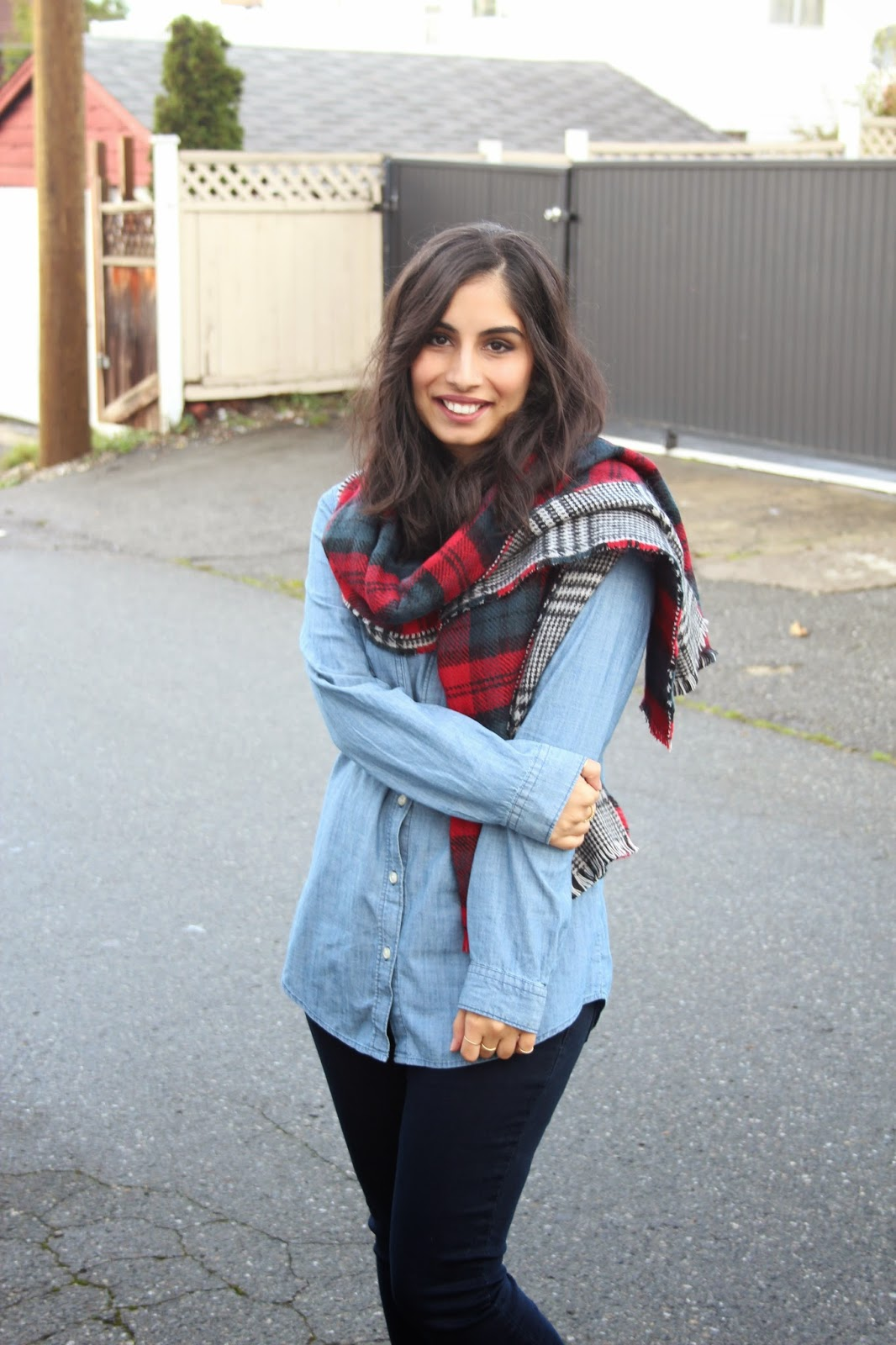 reversible plaid scarf and canadian tuxedo http://www.footnotesandfinds.com