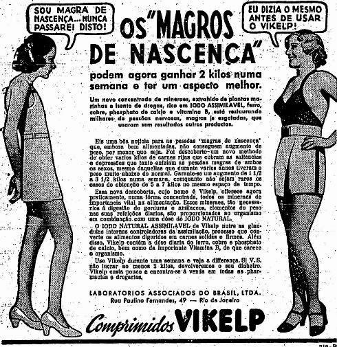 Propaganda dos Comprimidos Vikelp que prometia uma engorda para homens e mulheres.