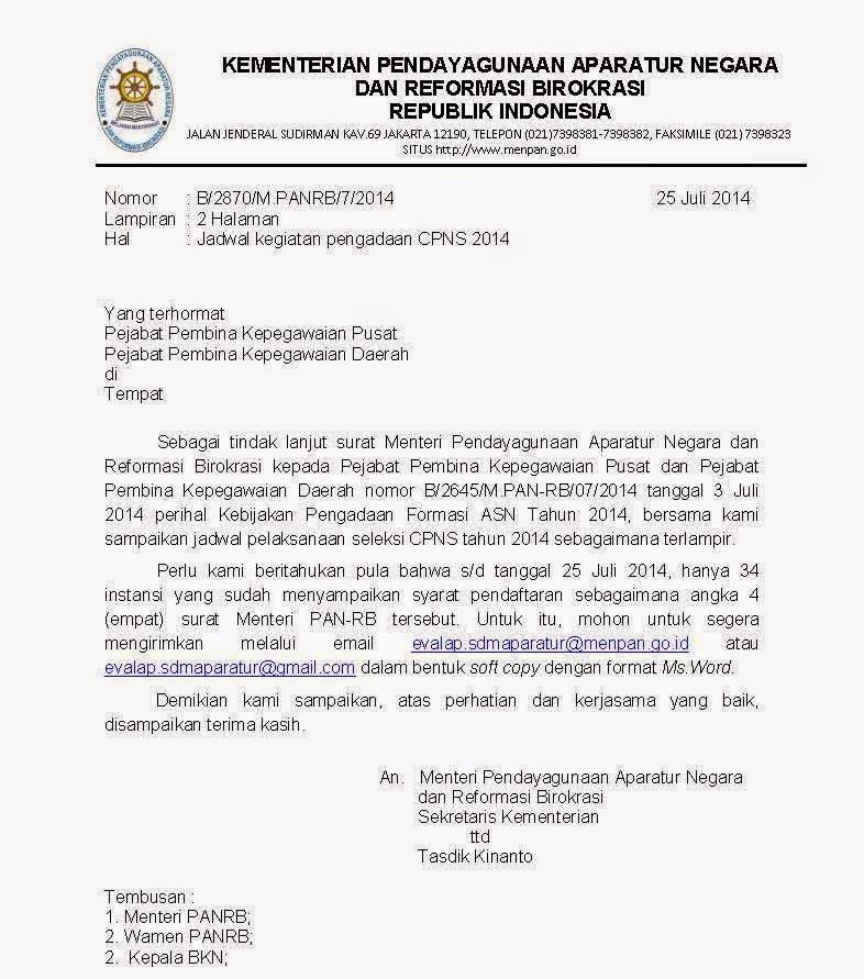 Surat Edaran dari Menteri PANRB Tentang Jadwal Kegiatan Pengadaan CPNS