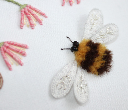 The Floss Box Bee And Flowers Stumpwork Embroidery