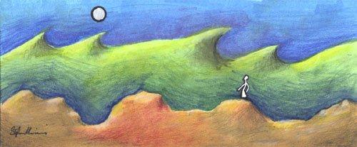 uomo natura forze naturali pittura  dipinto orme magiche quadro disegno pittura spirituale arte zen