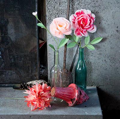 paper,textile flowers