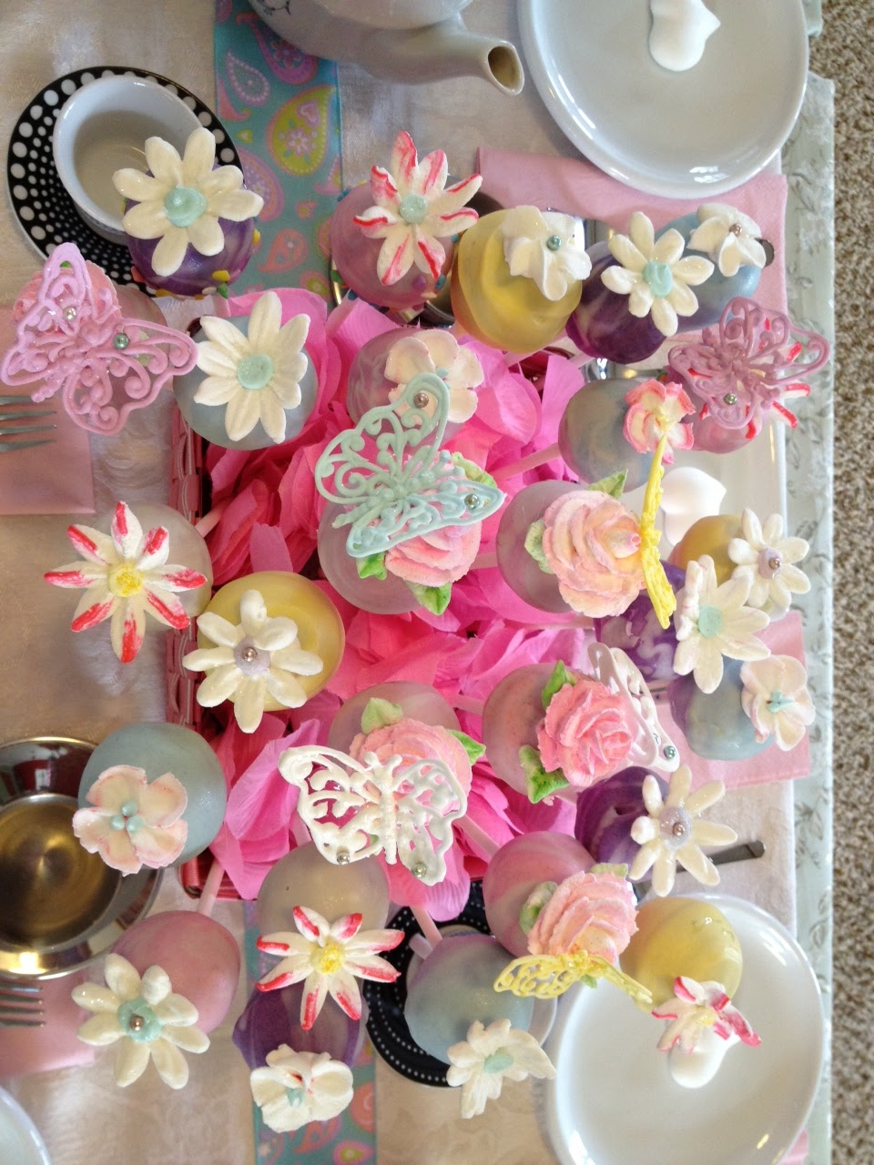 Frosted Art Cake Pop Bouquet And Royal Icing Butterflies