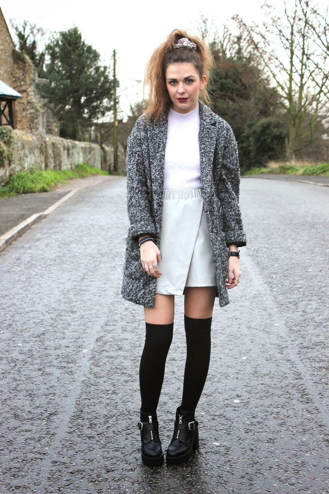 Grey_coat_with_fluffy_crop_top_and_grey_leather_wrap_skirt