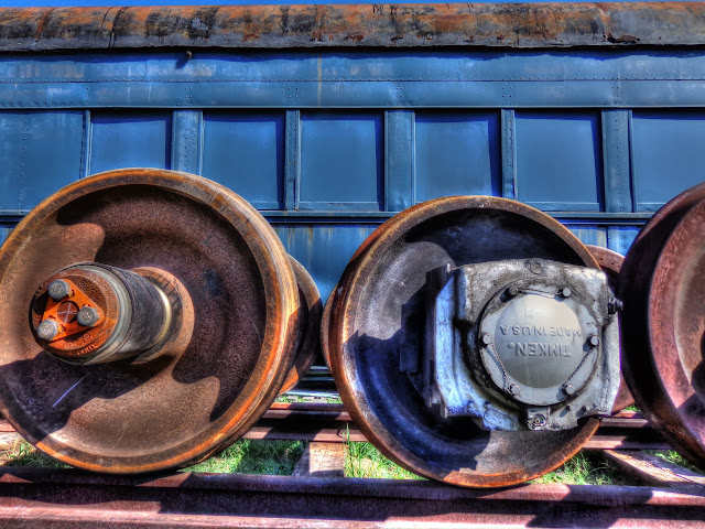 Old train Car and wheels at Austin Steam Train Association in Cedar Park, Texas - HDR
