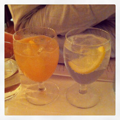 Quince gin fizz; gin and tonic