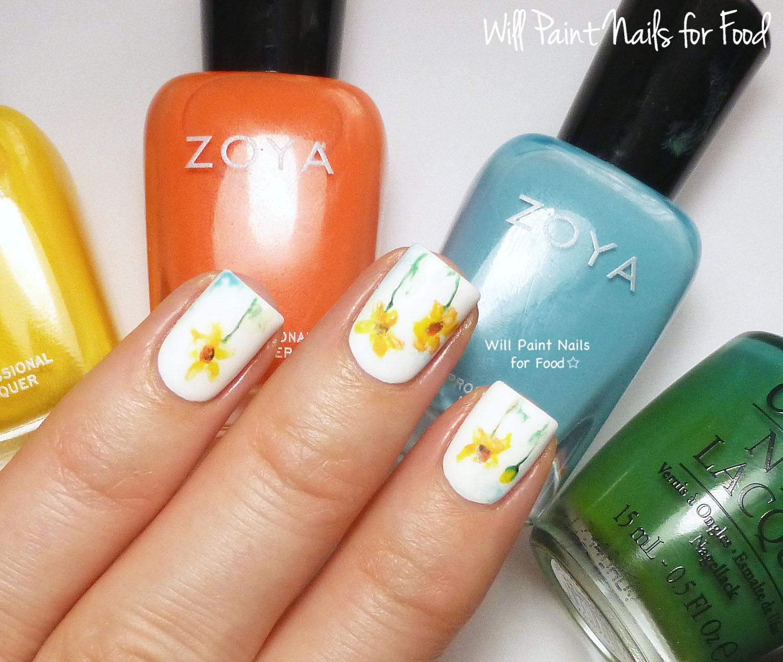 Minimalist watercolour daisies nail art