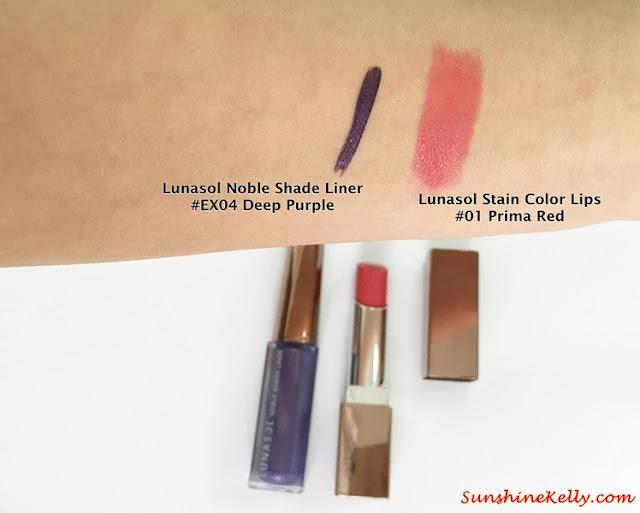Lunasol Spring 2015, Elegant Purification Makeup, Lunasol, Lunasol Noble Shade Liner, Lunasol Stain Color Lips, Color Swatch