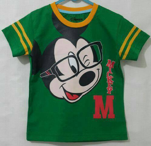 Baju Anak Karakter Mickey Mouse Kepala Hijau Size 1 - 6 Tahun