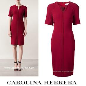 Queen Letizia Style Carolina Herrera Red Split Neck Dress
