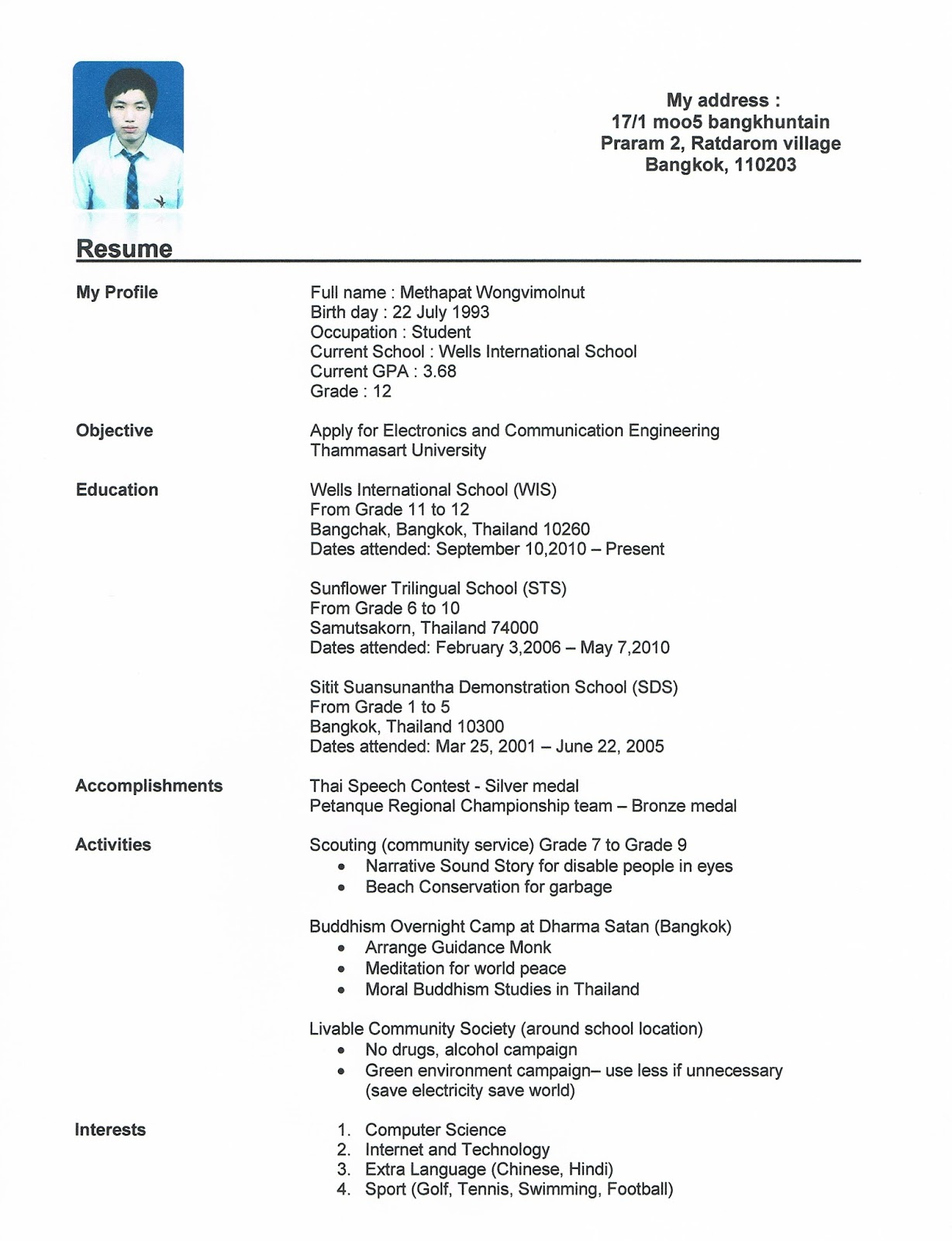 resume example for students in college